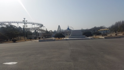 An empty amusement park which was closed the day we were there.