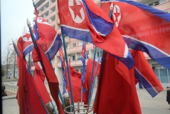 Bunches of North Korean Flags placed strategically at intersections